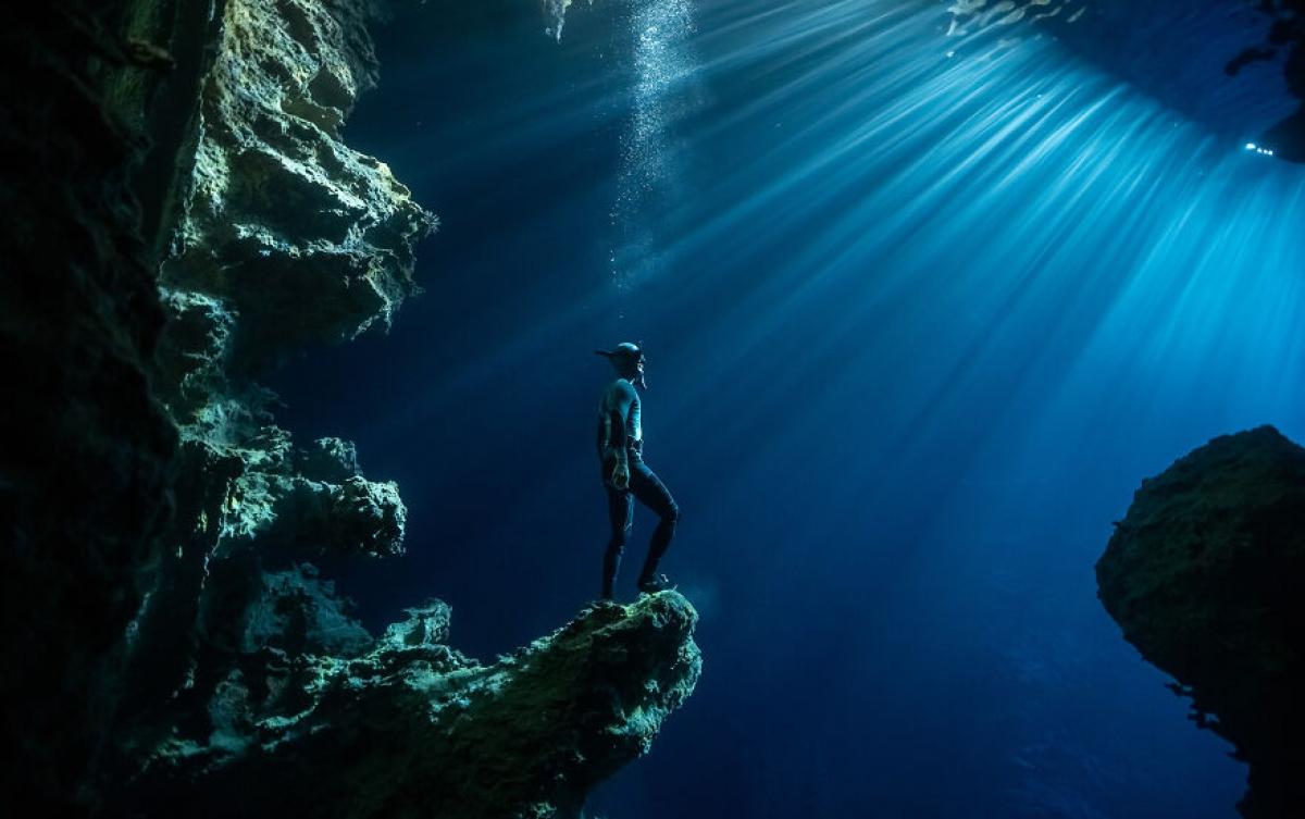 """Một người thợ lặn tự do khám phá ra một hang động ở Tonga. Mặc dù đã ghé thăm địa điểm này hơn 100 lần nhưng nhiếp ảnh gia Karim Iliya chưa bao giờ chứng kiến luồng ánh sáng diệu kỳ như vậy. """"Nó như thể anh ấy (chủ thể bức ảnh) đang nhìn vào một thế giới khác. Nó khiến tôi nghĩ về việc khám phá hành tinh này hoặc về cách mà chúng ta nhìn những nơi quen thuộc theo một cách mới"""", tác giả của bức ảnh chia sẻ."""