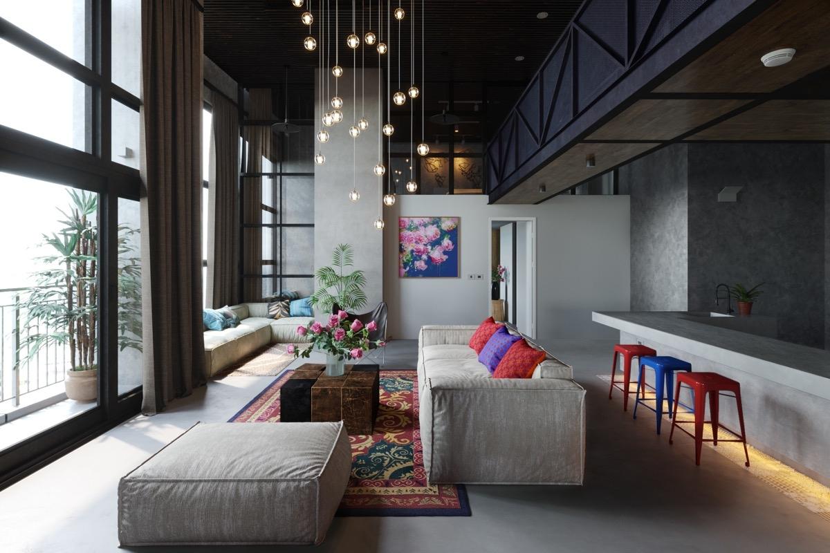 Một không gian đa sắc màu với chiếc băng ghế màu xám đầy ấn tượng.