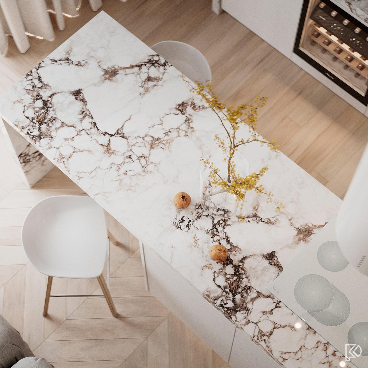 Không gian sang trọng và tinh tế với chất liệu đá cẩm thạch.