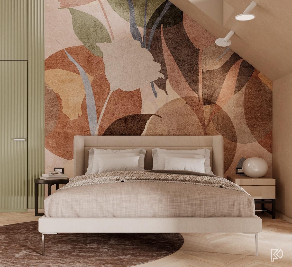 Bức tranh tường đầu phòng ngủ lạ mắt và ấn tượng.