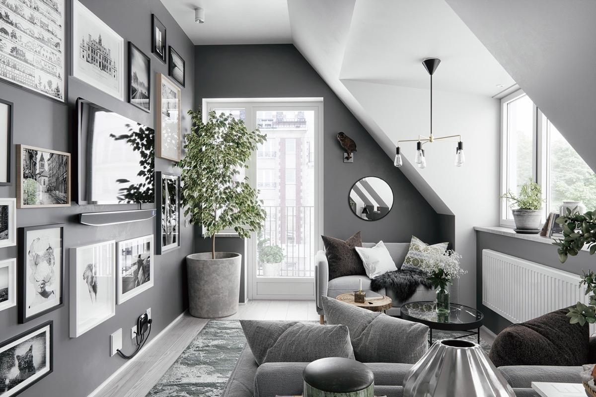Nếu phòng khách nhà bạn bị hạn chế về mặt diện tích thì màu xám và trắng sẽ là một giải pháp trên cả tuyệt vời.