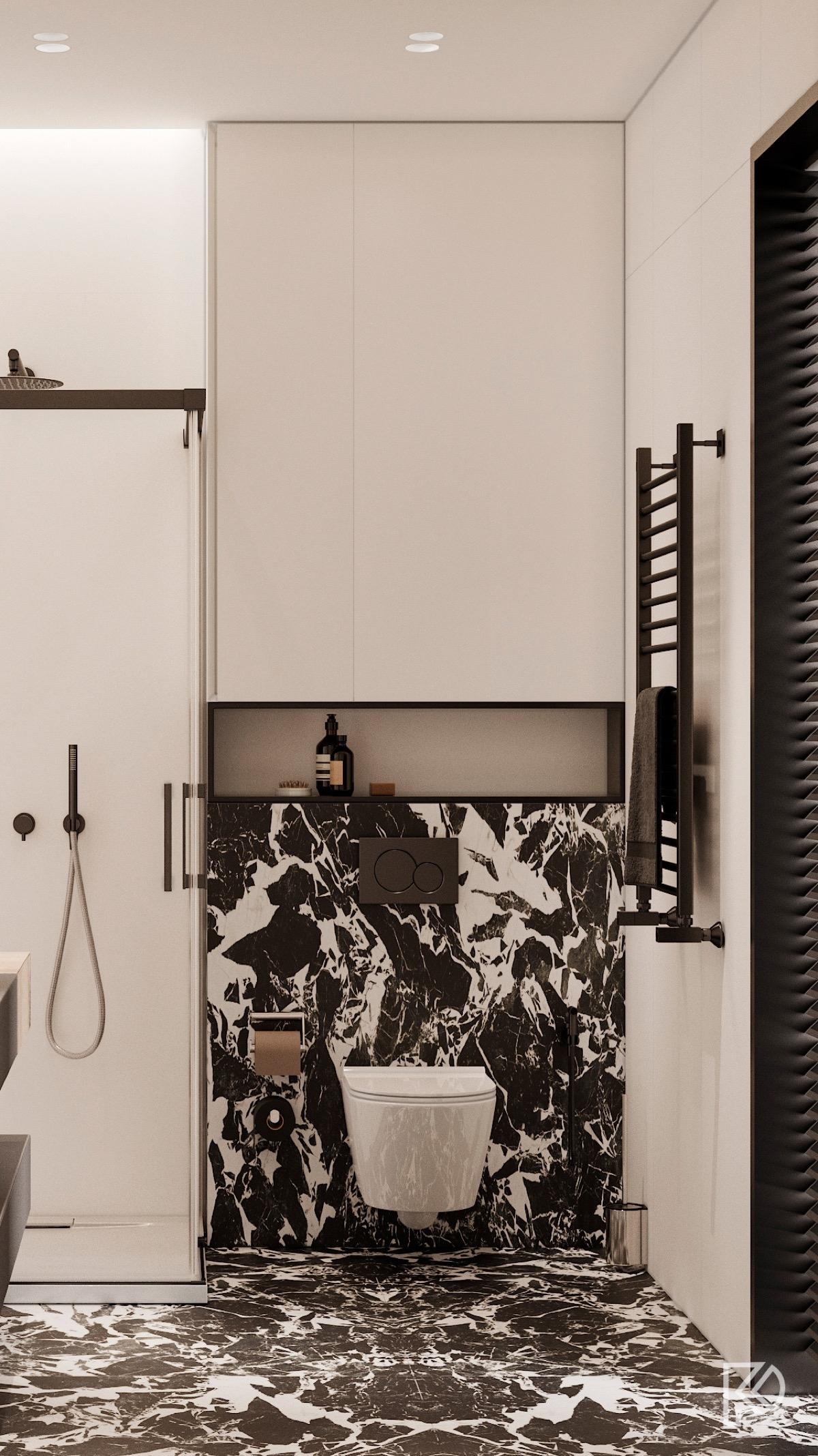 2 màu trắng đen làm nổi bật sự tương phản trong không gian tắm./.