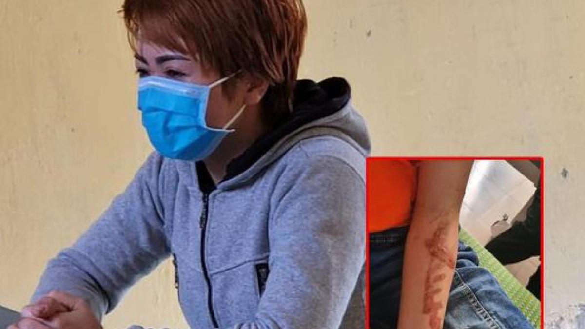 Chủ quán Nguyễn Thị Ánh Tuyết và hình cháu bé bị bạo hành.
