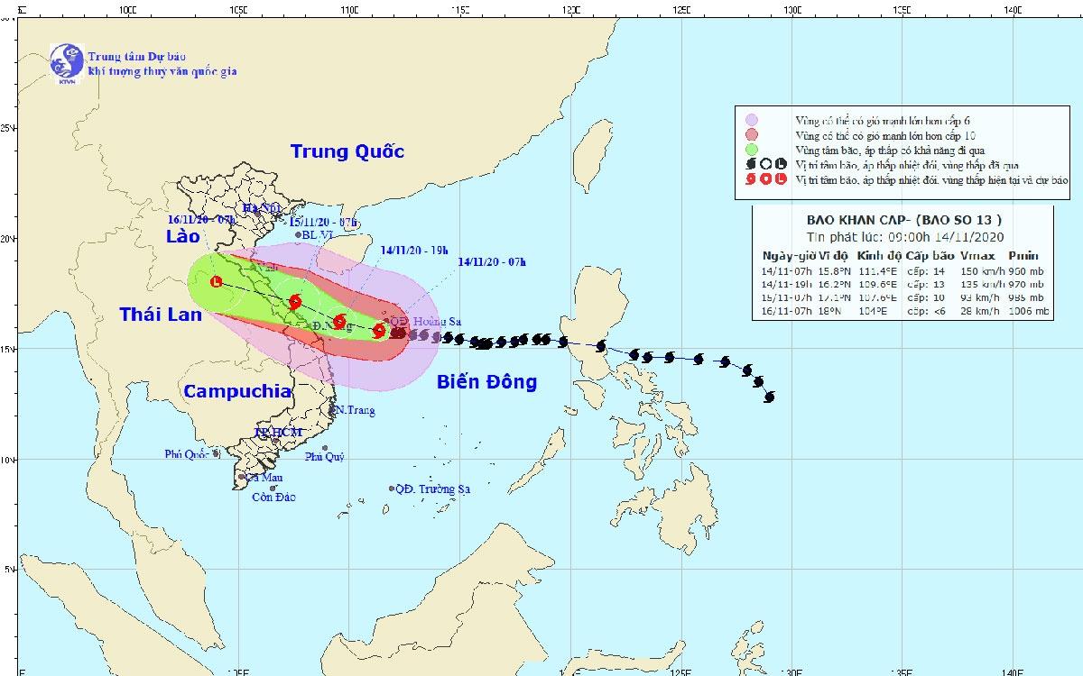 Đường đi và vị trí của bão số 13