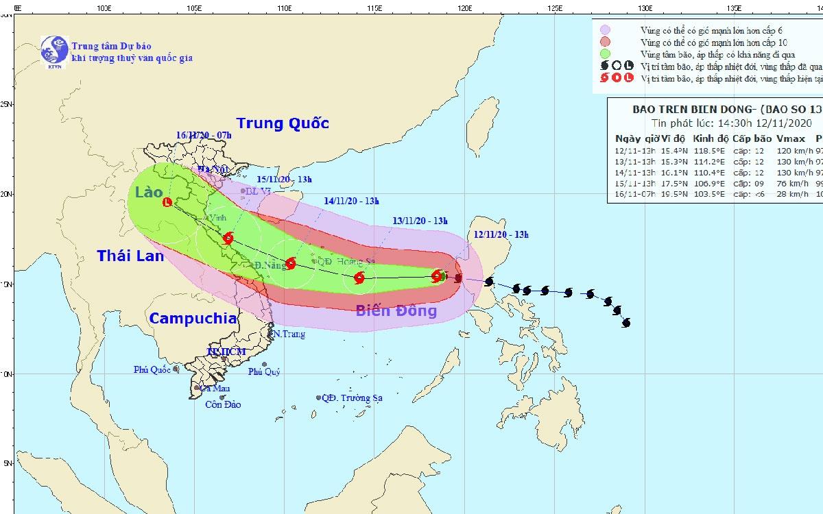 Đường đi và vị trí của bão số 13.