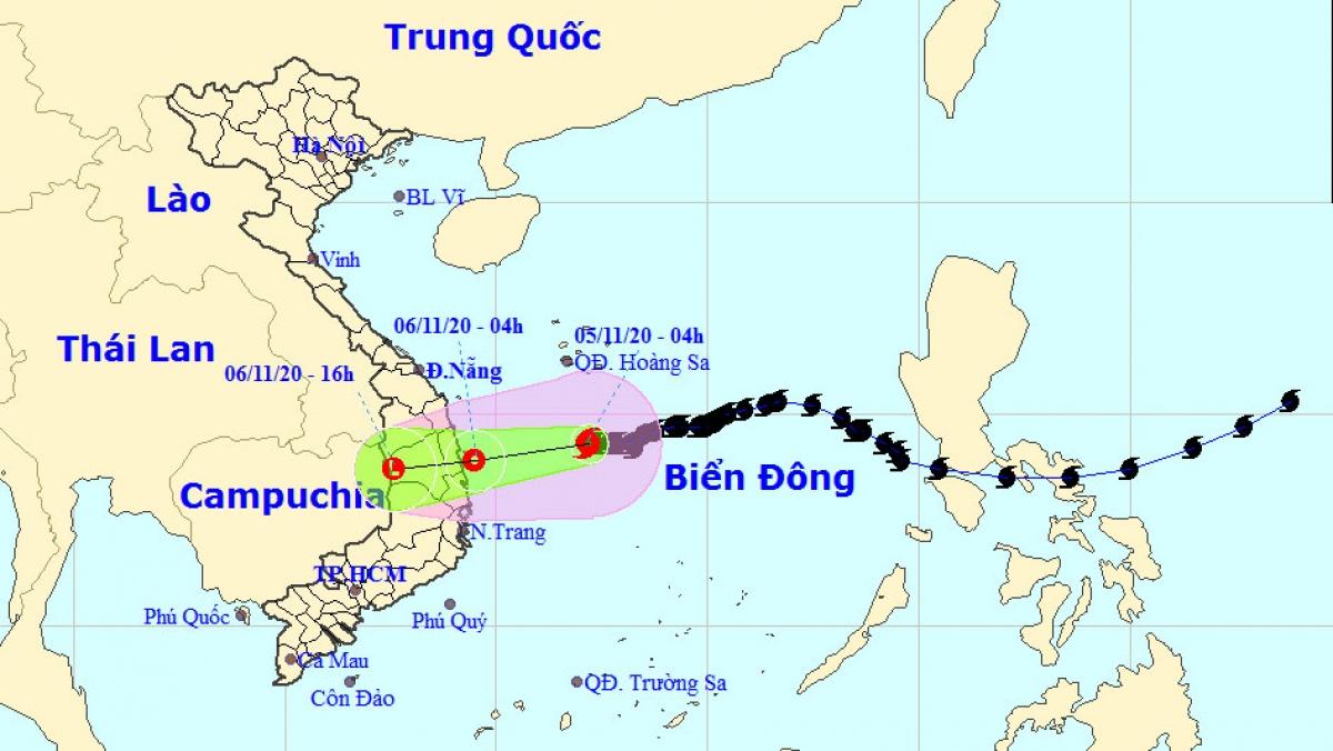Vị trí và hướng đi của cơn bão số 10. Ảnh: Trung tâm DBKTTV Trung ương