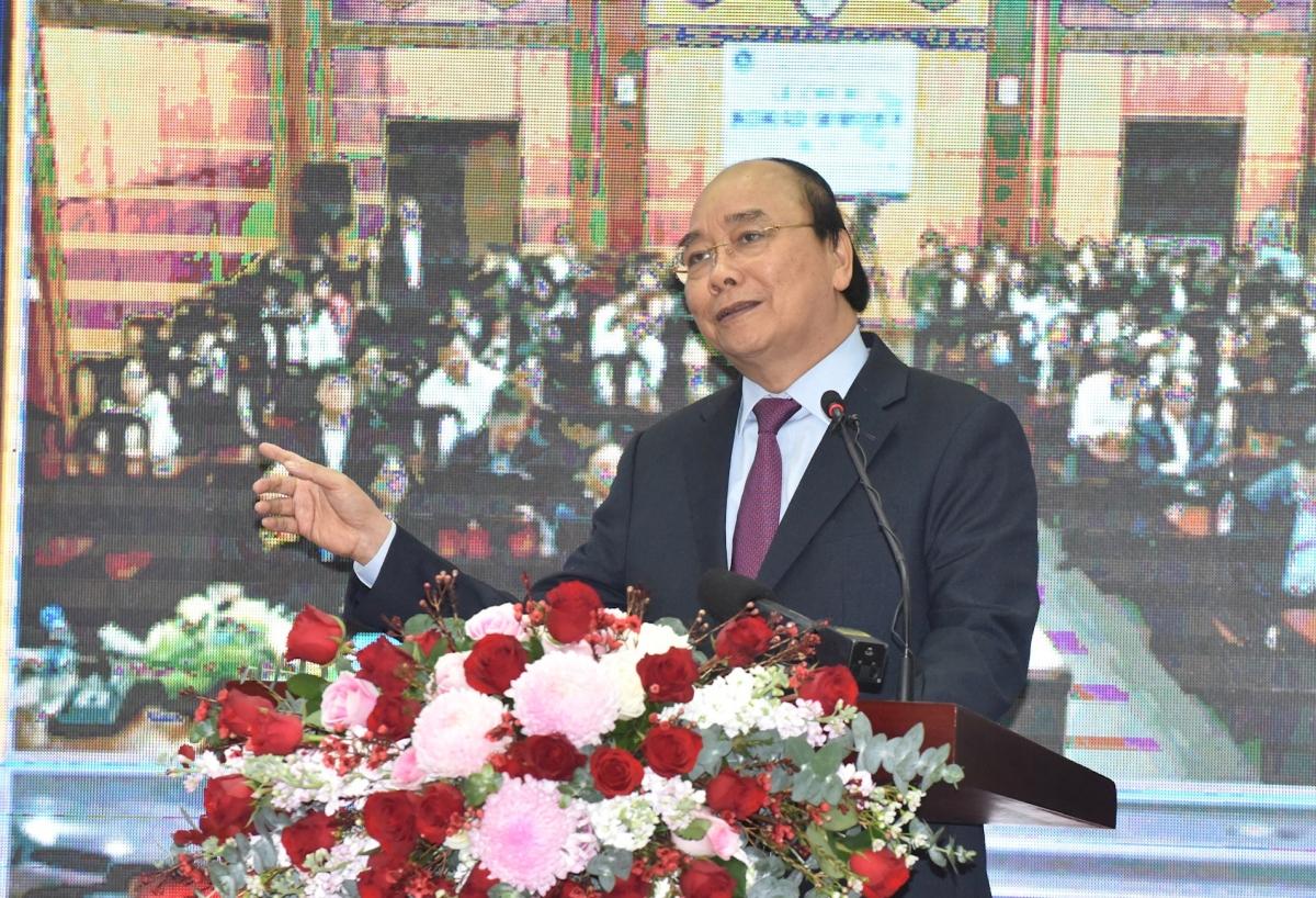 """Thủ tướng phát biểu tại Lễ công bốứng dụng """"VssID-Bảo hiểm xã hội số"""" (Ảnh: Trần Hải)"""