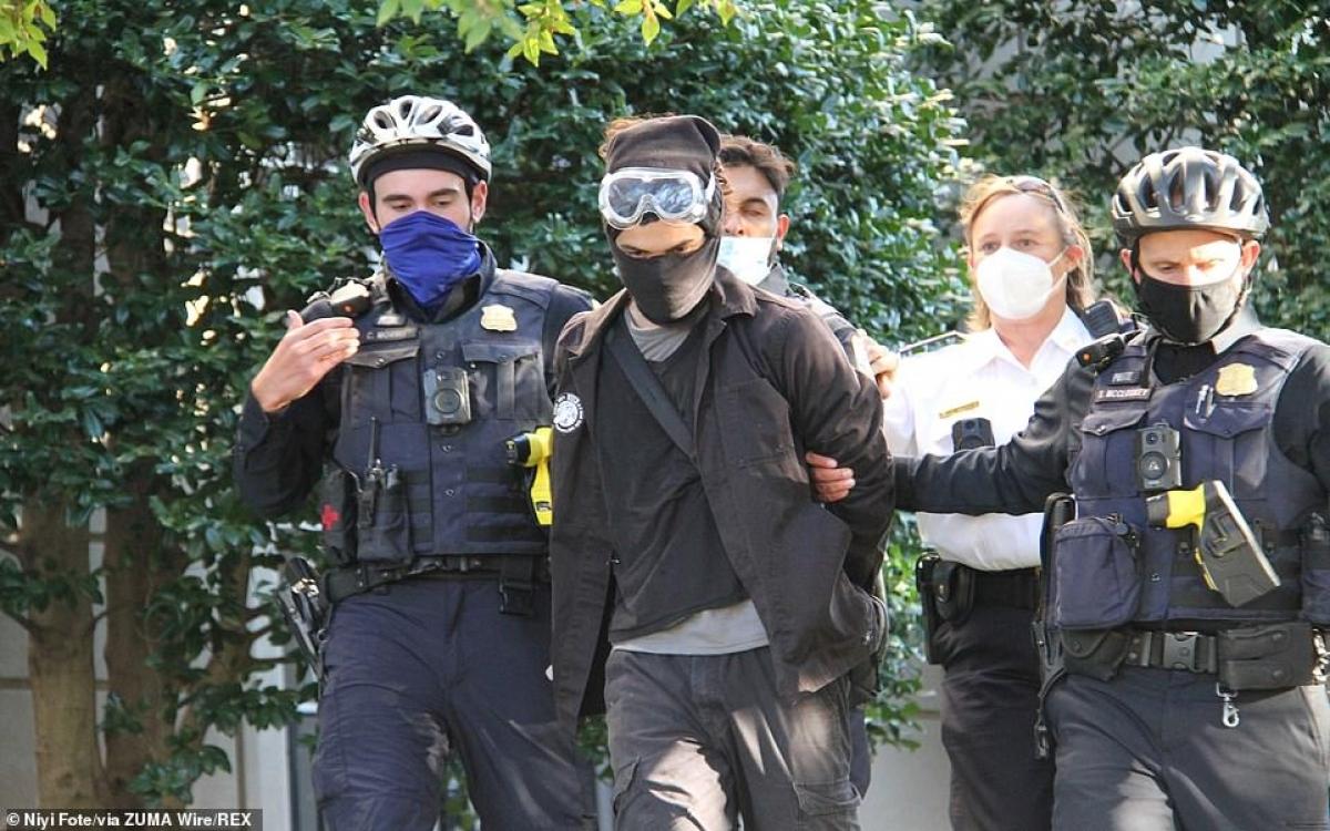 """Cảnh sát bắt giữ một người """"phản biểu tình""""."""