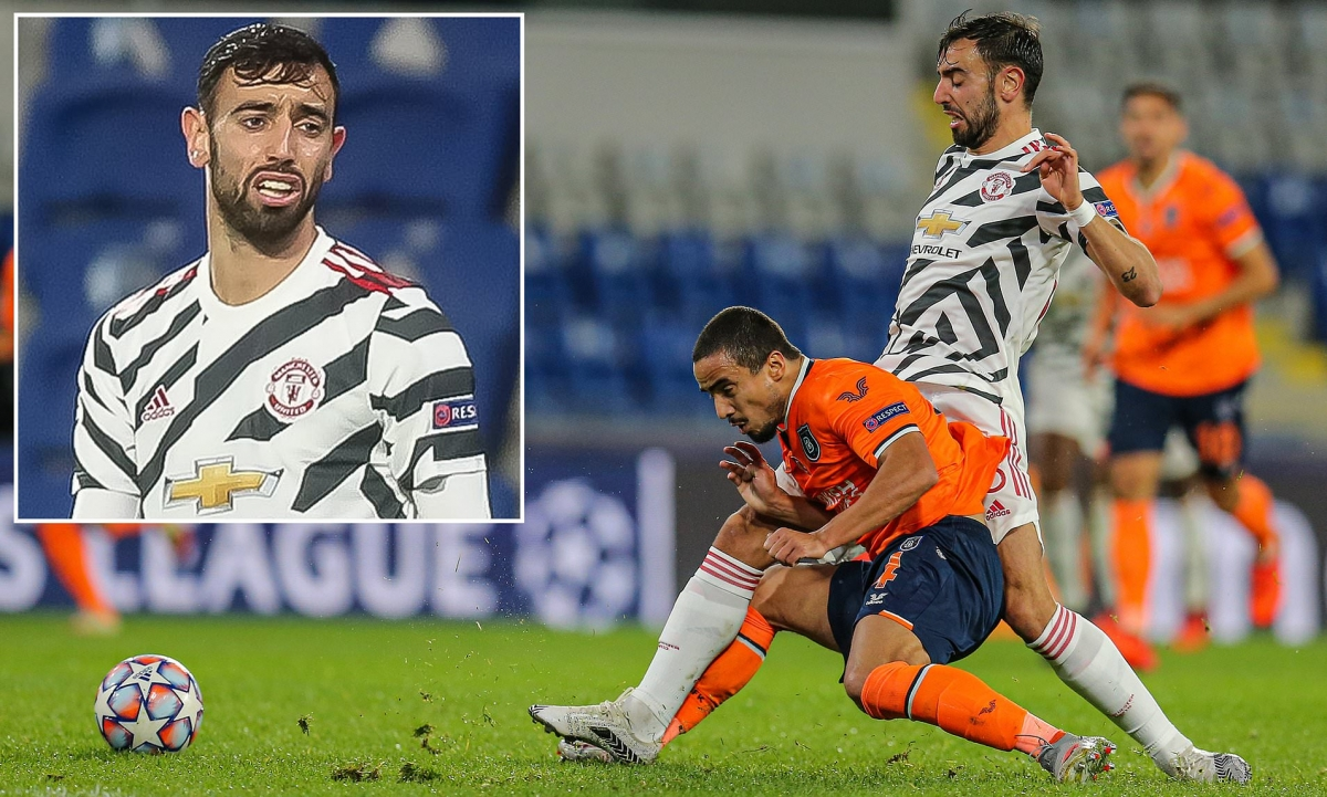 Bruno Fernandes không còn là chính mình ở trận thua Basaksehir. (Ảnh: Daily Mail)