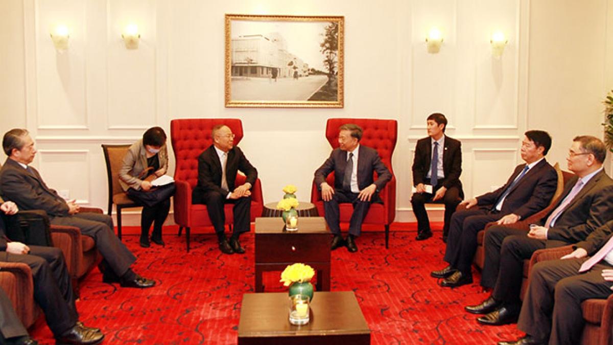 Bộ trưởng Tô Lâm tiếp Thứ trưởng Bộ An ninh Quốc gia Trung Quốc. (Ảnh: Báo Công an nhân dân)
