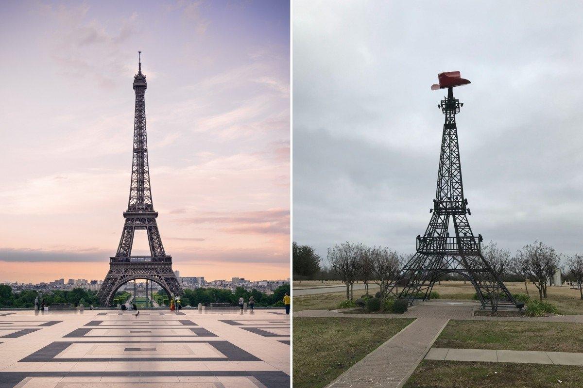Sự khác biệt giữa tháp Eiffel ở Paris (Pháp) và Paris (Texas, Mỹ) nằm ở đỉnh tháp.