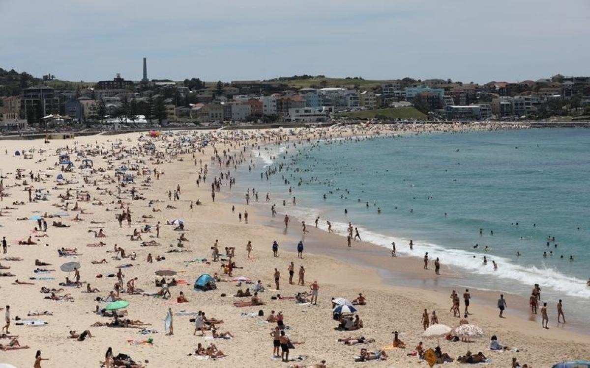Người dân Sydney đổ dồn đến các bãi biển để tránh nóng. Ảnh: 9News.