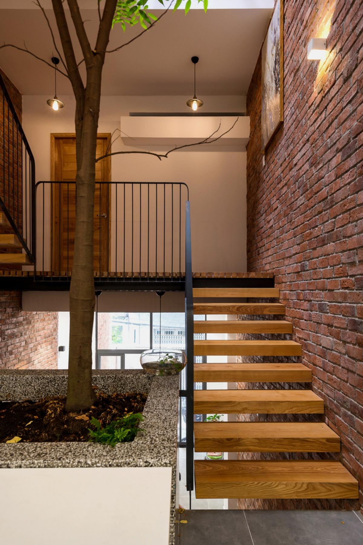 Do mặt tiền hẹp, chủ nhà lựa chọn mở khoảng thông tầng lớn ở trung tâm ngôi nhà, cung cấp ánh sáng tự nhiên cho tất cả các không gian và các phòng, khoảng trống cuối nhà làm khoảng thông tầng, thông gió.