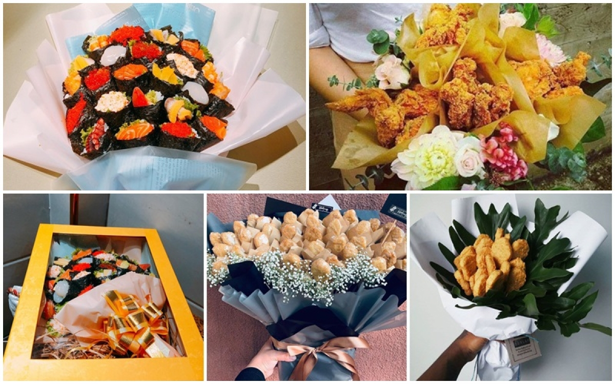 """Những bó hoa độc đáo được làm từ thức ăn khiến khách hàng """"nhìn là thèm""""."""