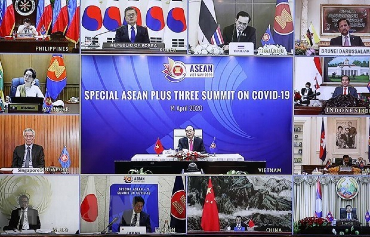 Prime Minister Nguyen Xuan Phuc chairs the Special ASEAN Plus Three Summit on COVID-19 in April. (Photo: VNA)