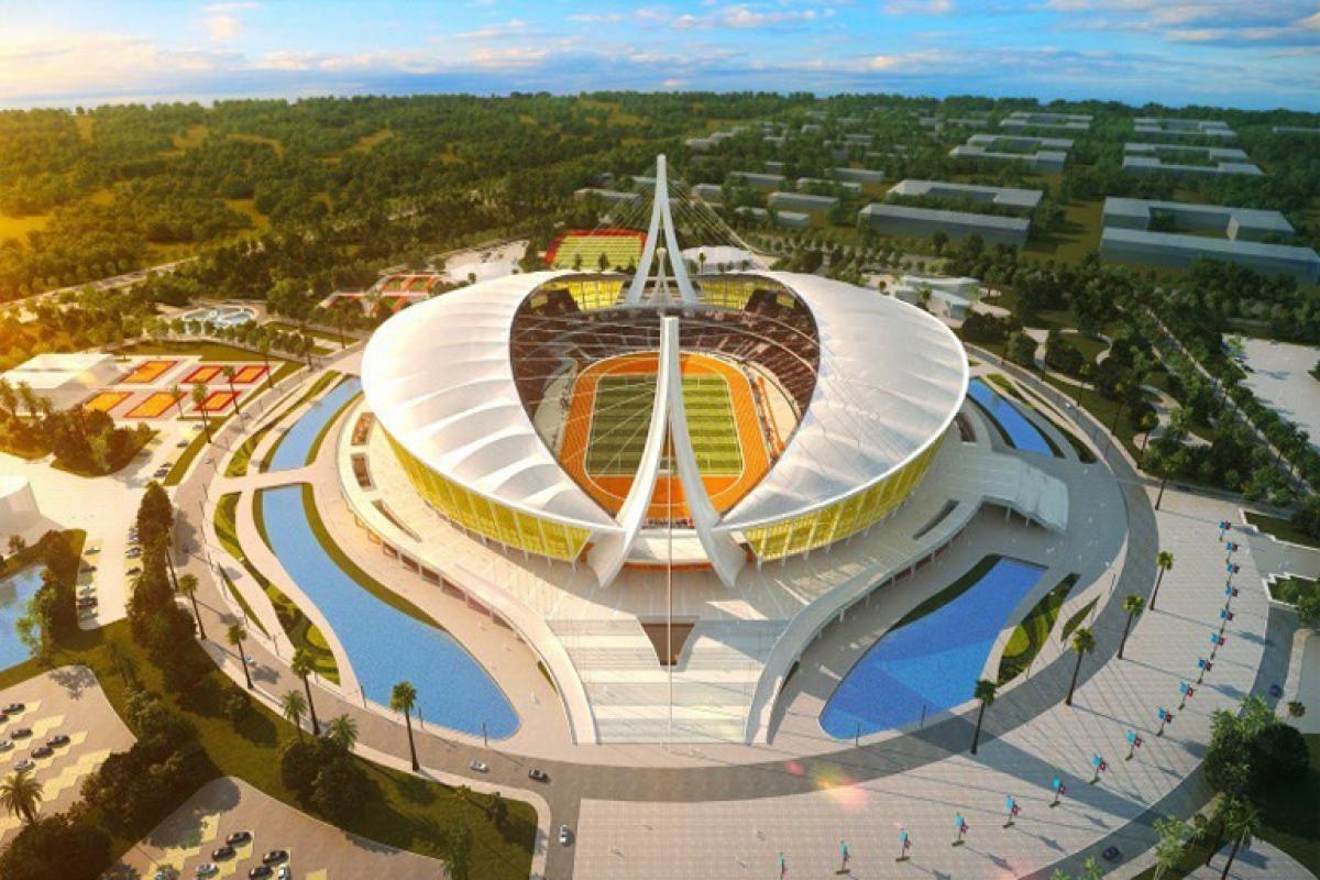 Mô hình sân vận động Morodok Techo chuẩn bị được khánh thành ở Campuchia.