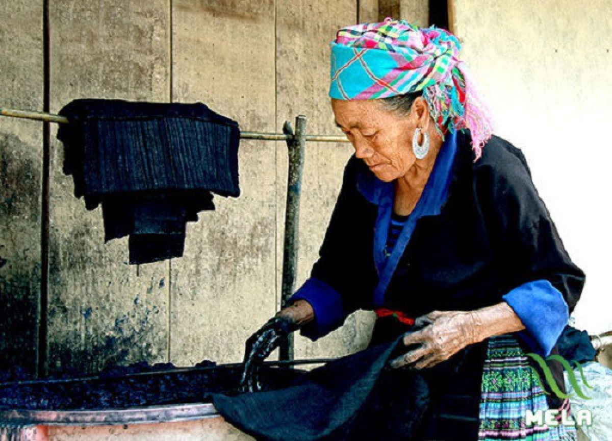Mong people dye fabric in indigo.