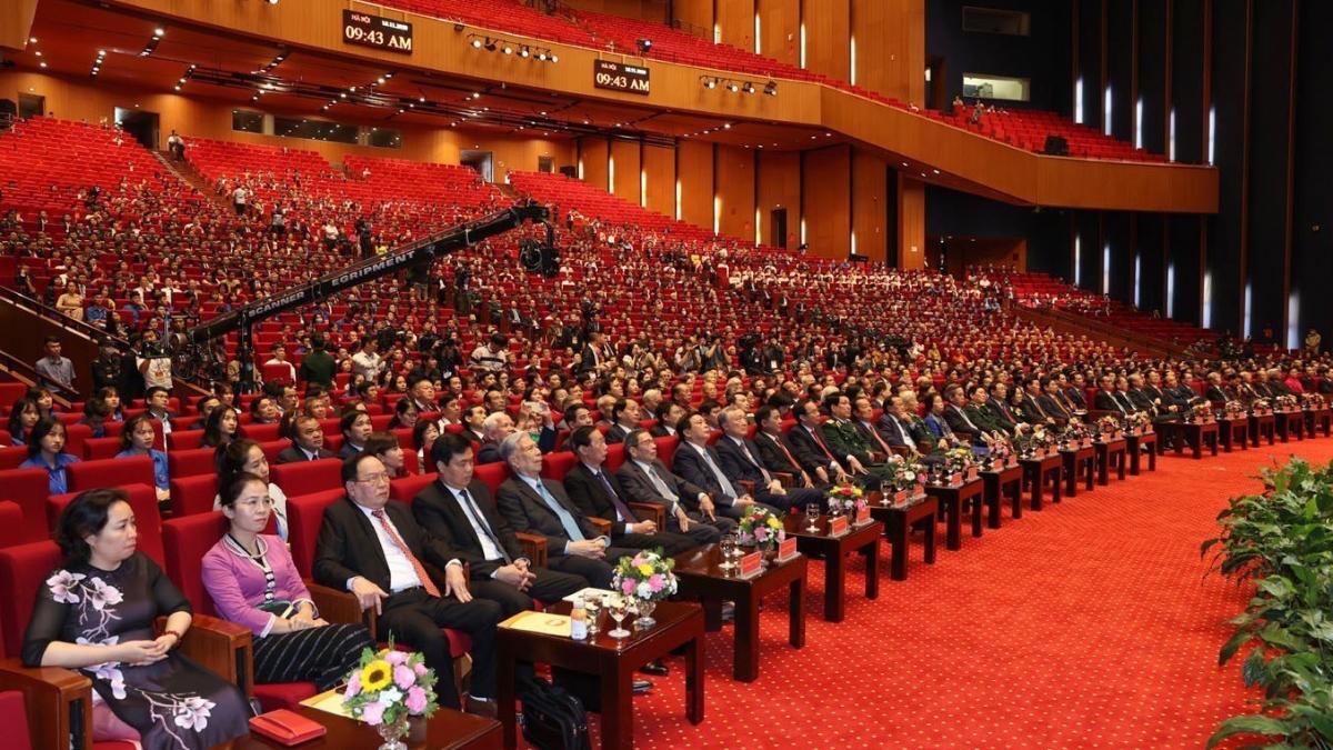 Các đại biểu dự Lễ kỷ niệm 90 năm thành lập Mặt trận Dân tộc thống nhất. Ảnh: TTXVN