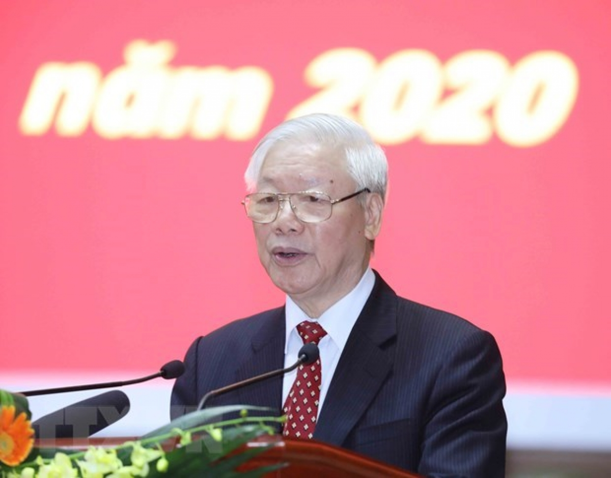 Party General Secretary and President Nguyen Phu Trong addresses the conference (Photo: VNA)