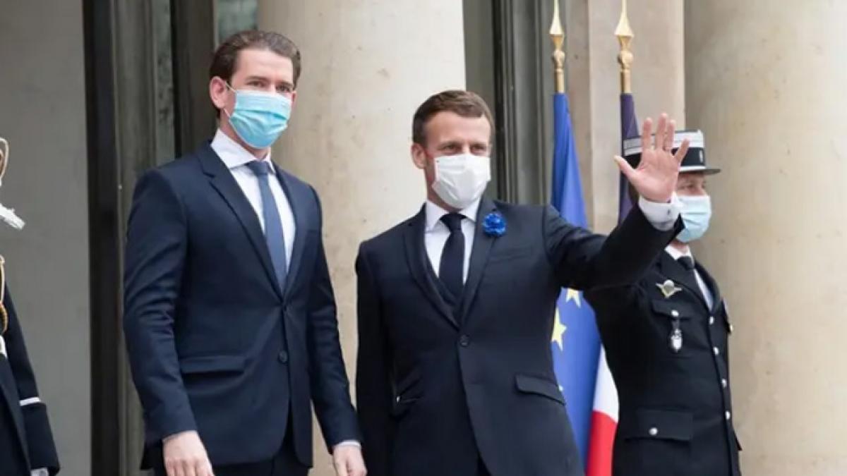 Tổng thống Pháp Macron tiếp Thủ tướng Áo Sebastian Kurz. Anh: Le Point