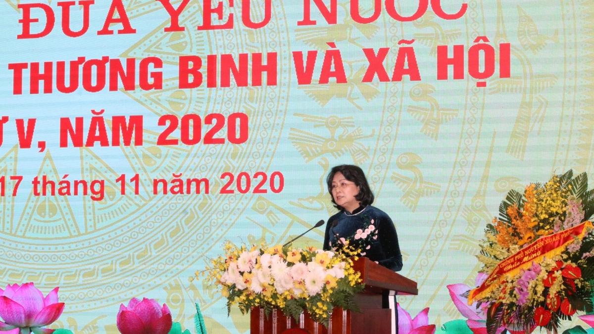 Phó Chủ tịch nước Đặng Thị Ngọc Thịnh phát biểu tại Đại hội thi đua yêu nước ngành Lao động - Thương binh và Xã hội