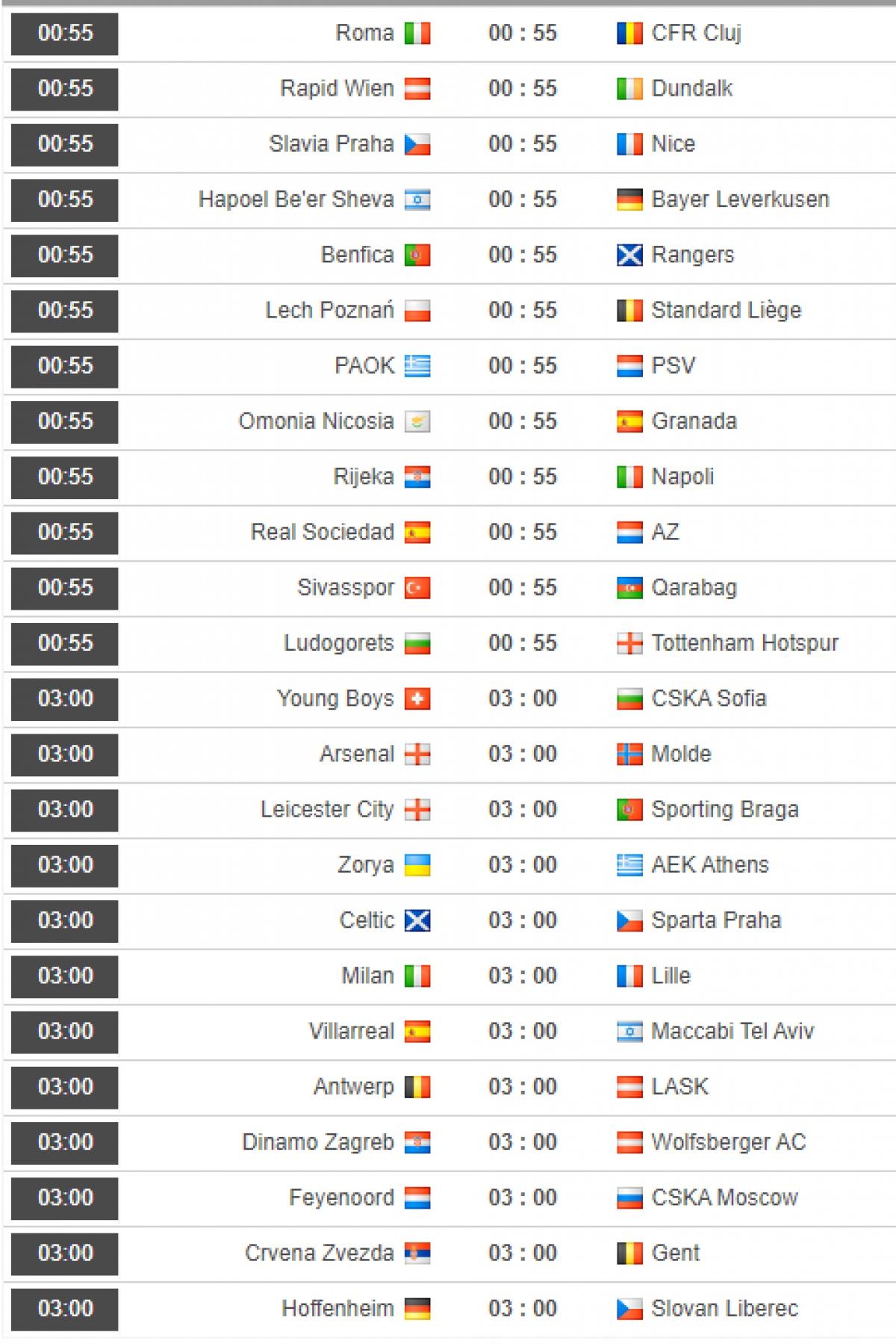 Lịch thi đấu chi tiết lượt trận thứ 3 vòng bảng Europa League.