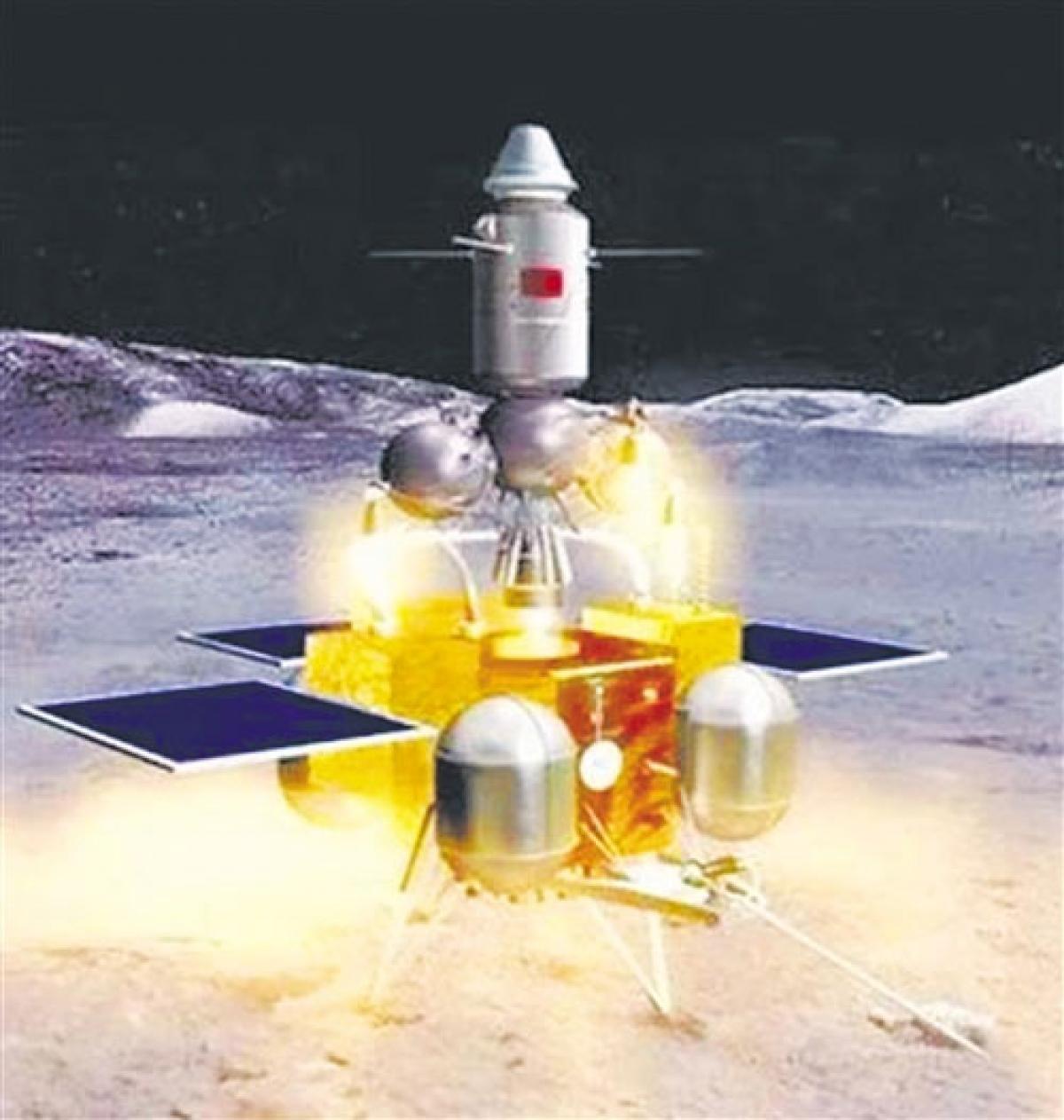 Hình ảnh mô phỏng tàu Hằng Nga 5. (Ảnh: Tân Hoa Xã).