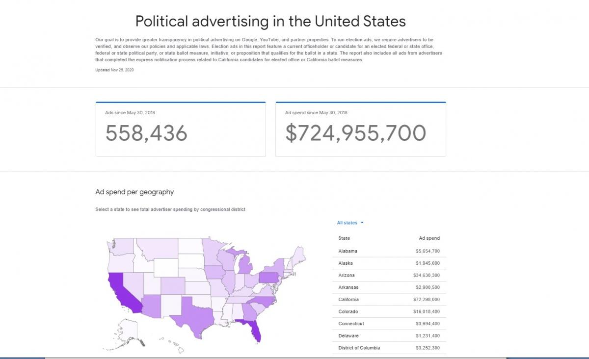 Thông tin về quảng cáo chính trị tại Mỹ được Google công khai.