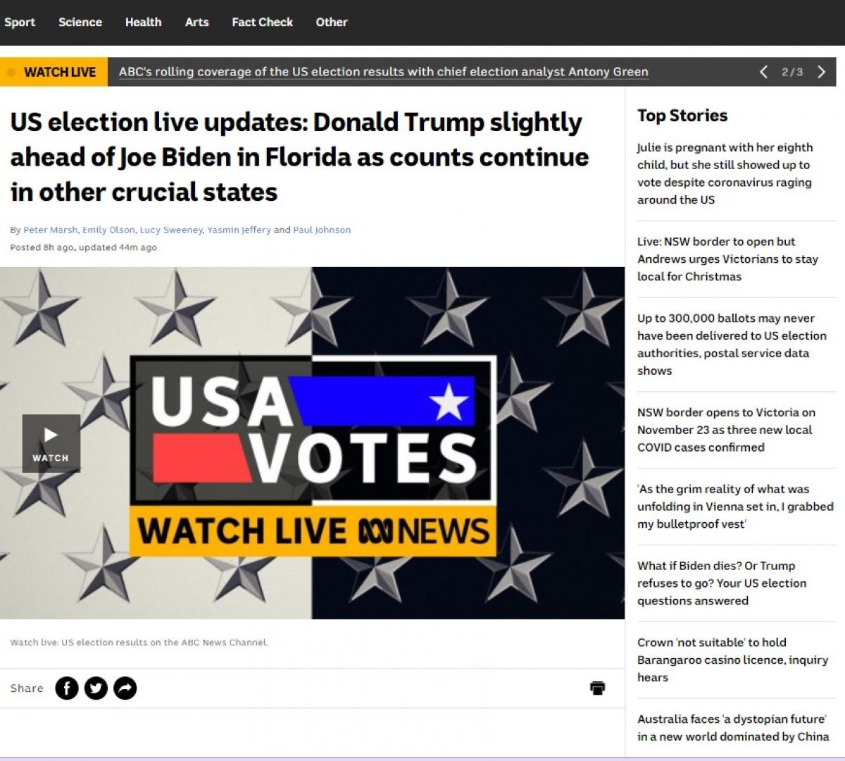 Tổ hợp truyền thông ABC của Australia đưa tin trực tiếp về cuộc bầu cử tại Mỹ trên các nền tảng đa phương tiện. Ảnh: VOV
