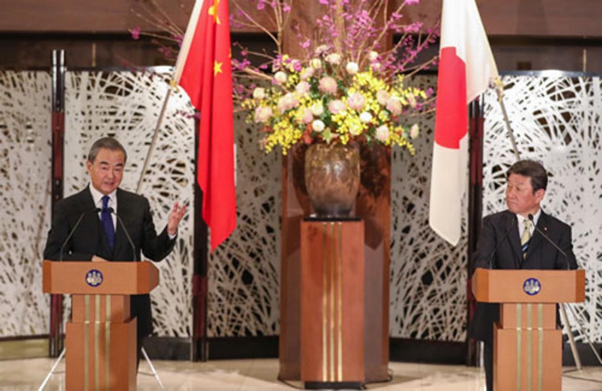 Ngoại trưởng Trung Quốc và Ngoại trưởng Nhật Bản. (Nguồn Thepaper)