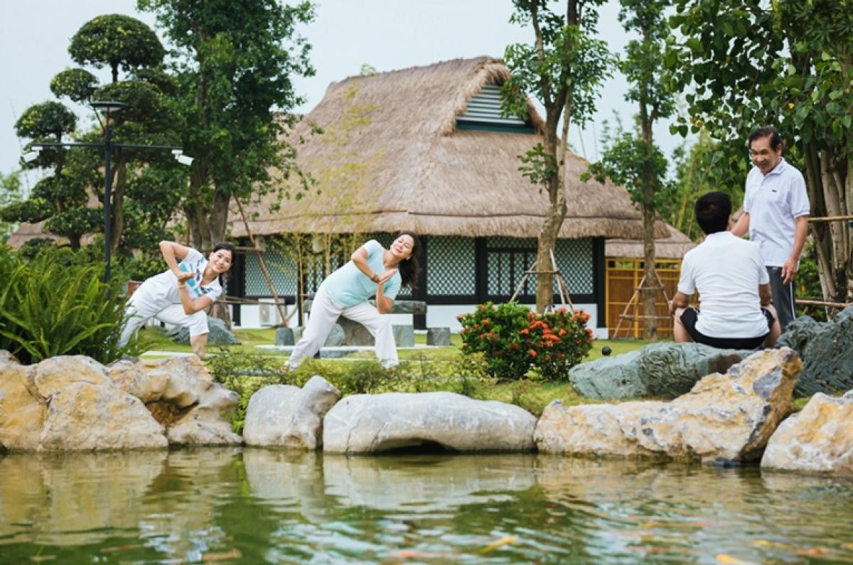 Vườn Nhật tĩnh lặng, thư thái tái tạo năng lượng cho cư dân khi bước chân vào.
