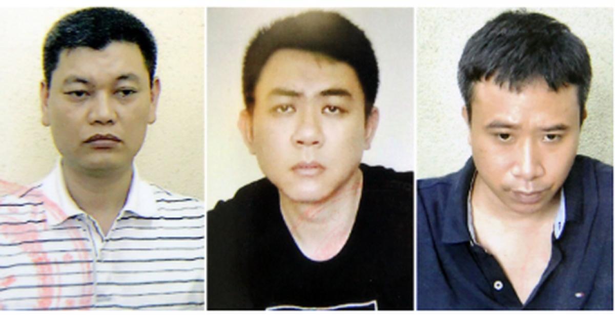 Từ trái qua: Bị can Nguyễn Anh Ngọc; bị can Nguyễn Hoàng Trung; bị can Phạm Quang Dũng.