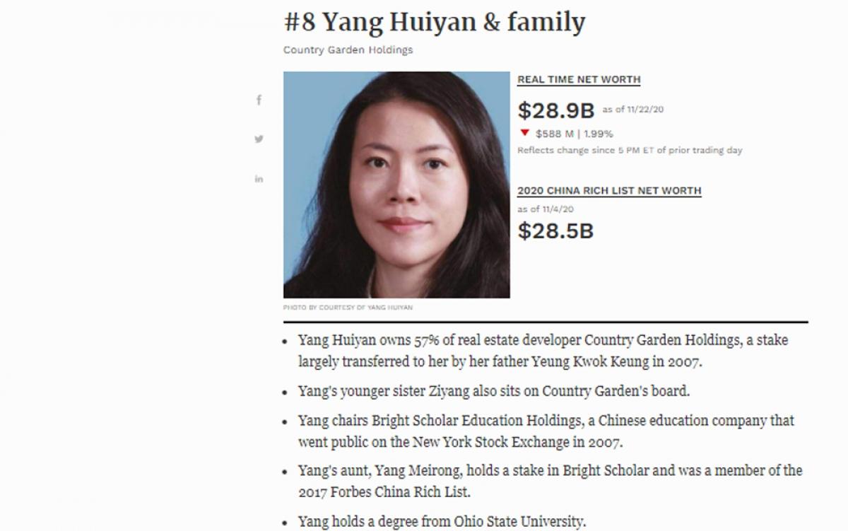 Bà Yang Huiyan đang lãnh đạo tập đoàn bất động sản Country Garden Holdings nổi tiếng của Trung Quốc.