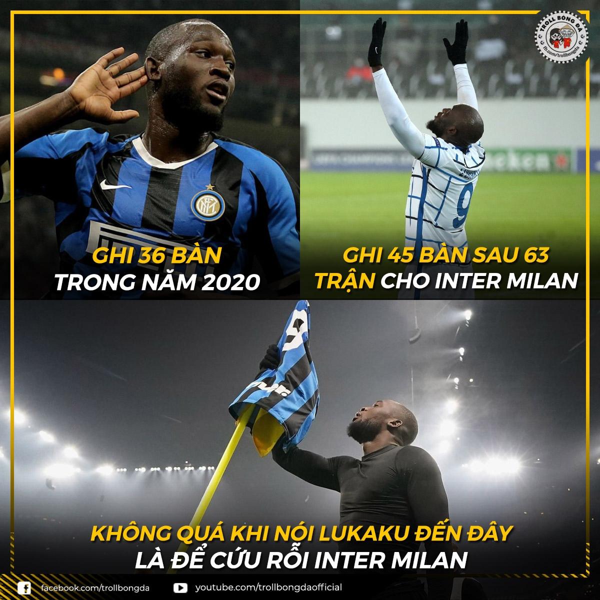 Romelu Lukaku ghi bàn như máy ở Inter Milan. (Ảnh: Troll Bóng Đá)