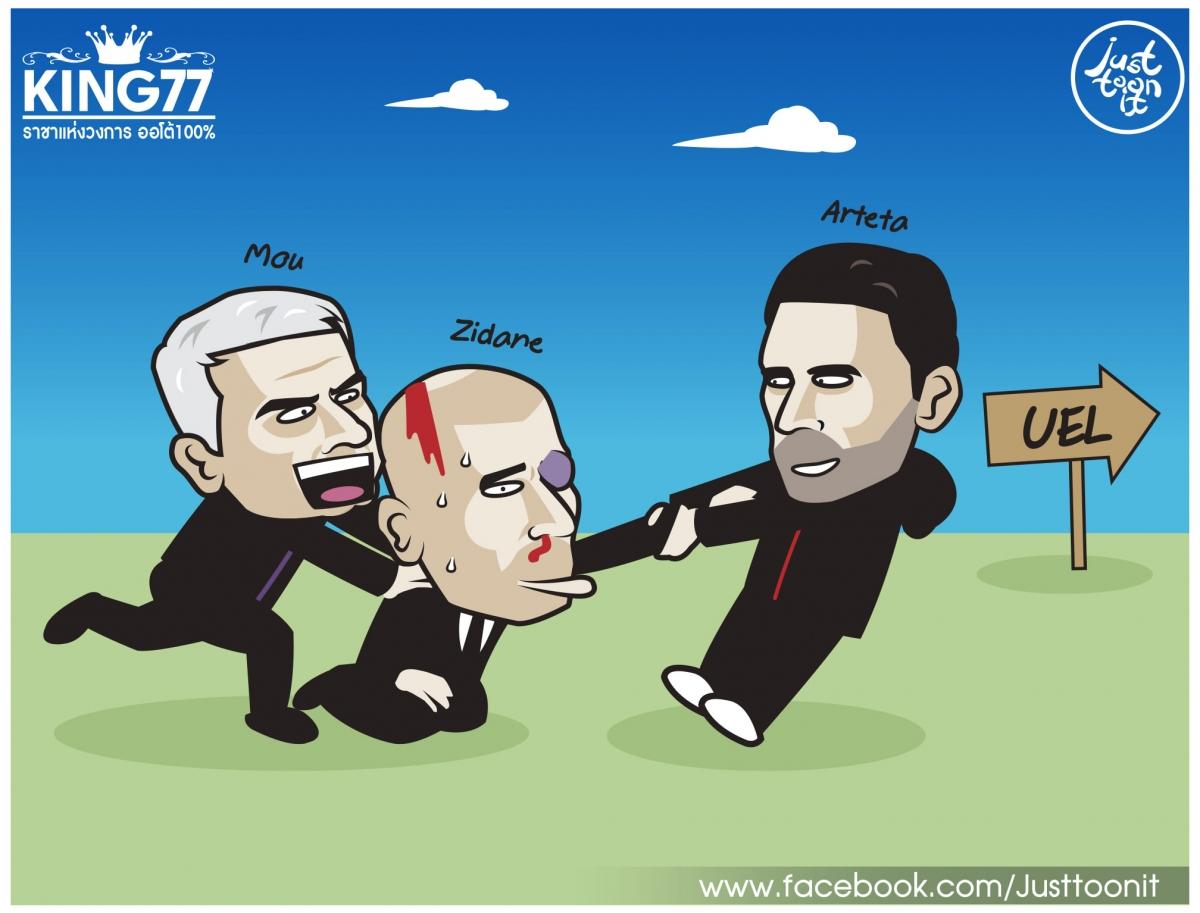 Jose Mourinho, Mikel Arteta mời gọi Zinedine Zidane. (Ảnh: Just Toon It)