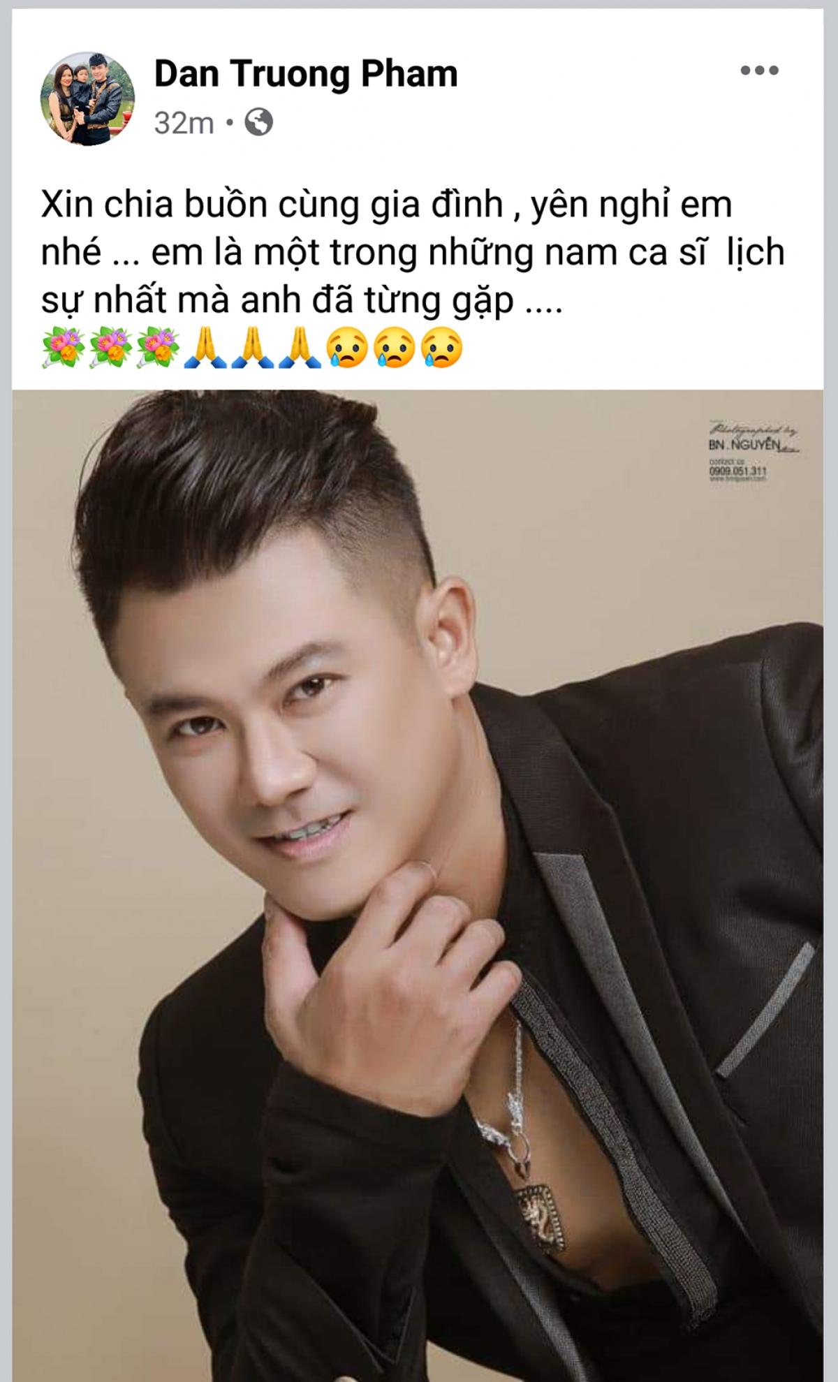 Ca sĩ Đan Trường gửi lời chia buồn đến gia đình nam ca sĩ Vân Quang Long.