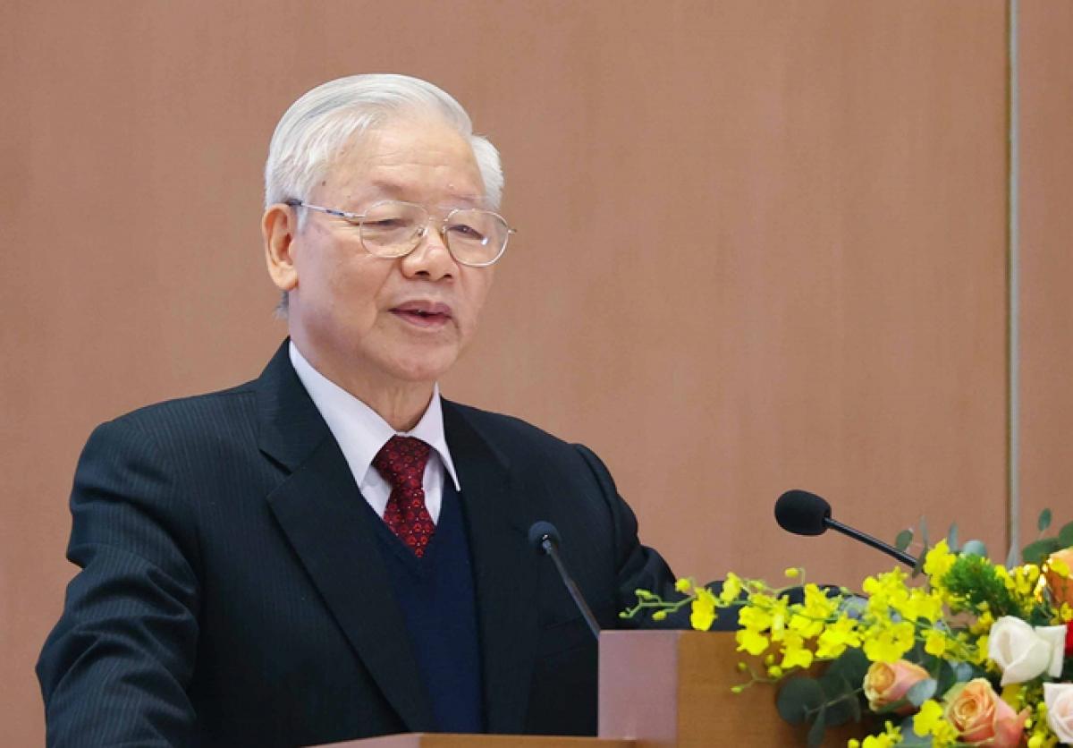 Tổng bí thư, Chủ tịch nước Nguyễn Phú Trọng phát biểu tại hội nghị Chính phủ với các địa phương, sáng 28/12. Ảnh: TTXVN