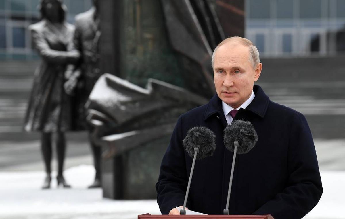 Tổng thống V.Putin phát biểu tại lễ kỷ niệm 100 năm Cơ quan Tình báo đối ngoại Nga. (Ảnh: Tass)