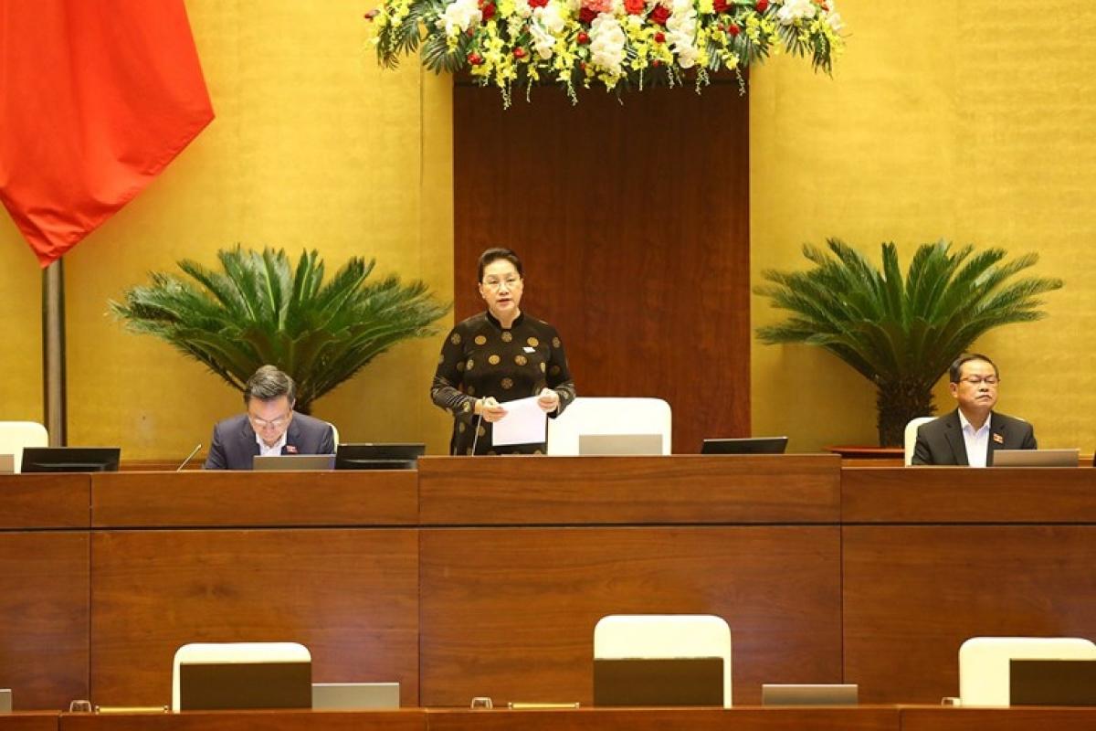 Chủ tịch Quốc hội Nguyễn Thị Kim Ngân phát biểu mở đầu Đợt 2 Kỳ họp thứ 10, Quốc hội khóa XIV. (Ảnh: Quốc hội)