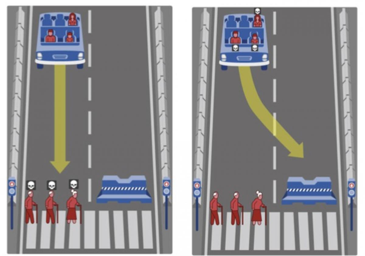 Tình huống đặc biệt buộc hệ thống AI của xe tự lái phải lựa chọn. (Ảnh chụp màn : BBC)