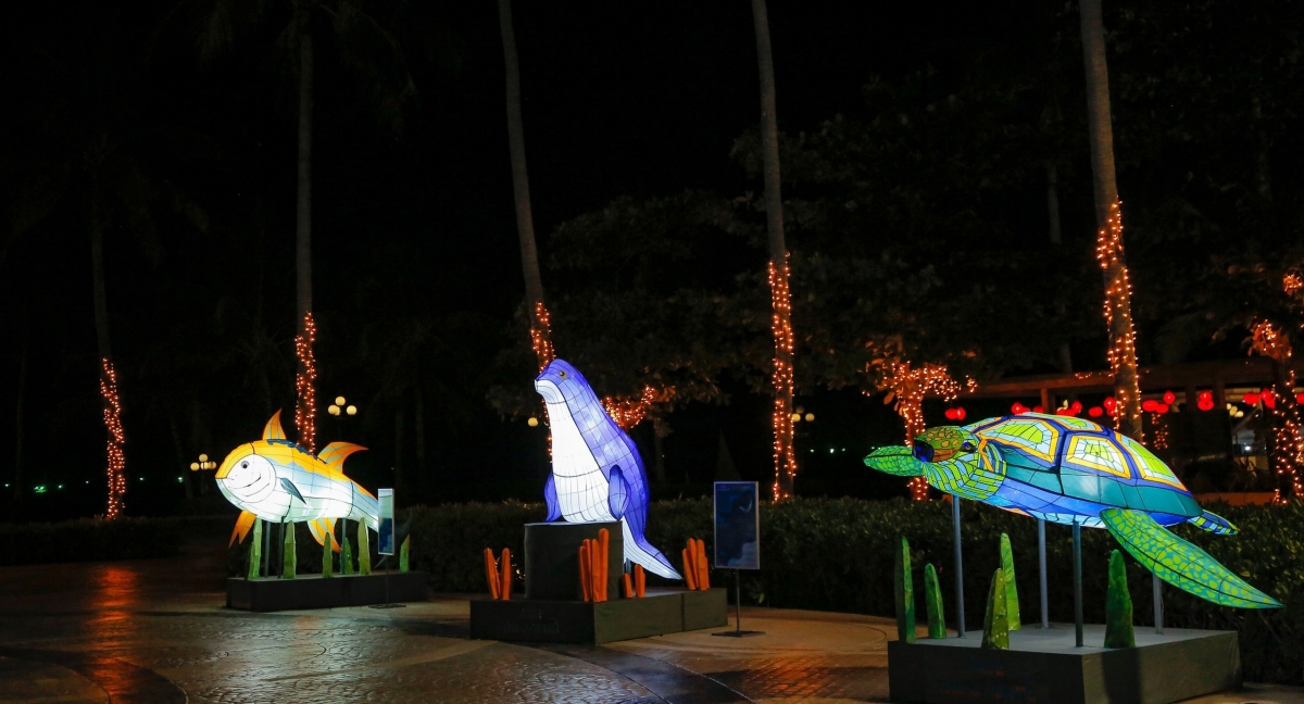 """Đảo ngọc Phú Quốc đón mùa lễ hội với triển lãm ánh sáng """"Save the Oceans""""   VOV.VN"""