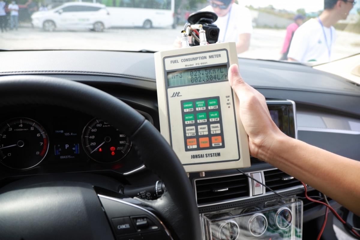 Thiết bị đo mức tiêu thụ nhiên liệu trung bình chuyên dụng được sử dụng trong cuộc thi.
