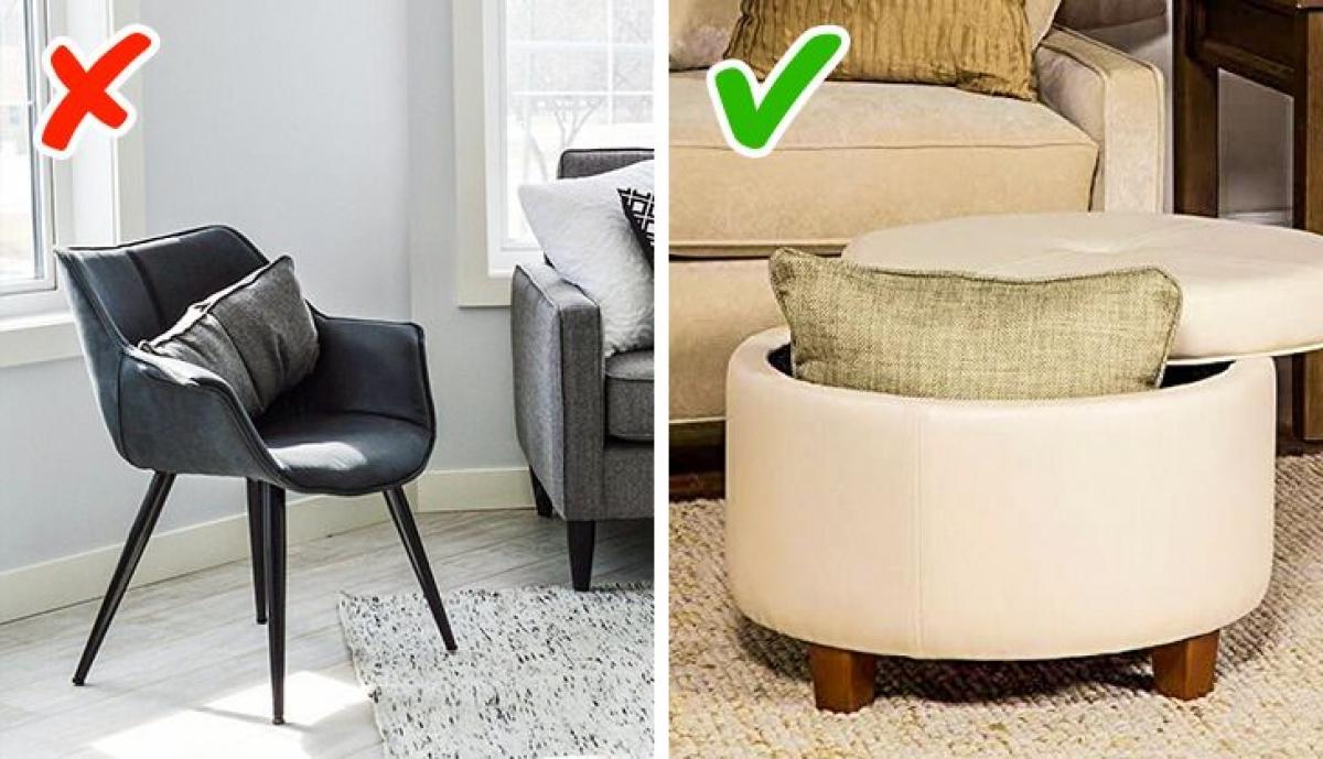 Sử dụng ghế đôn nhỏ có chức năng lưu trữ thay vì các loại ghế thông thường.
