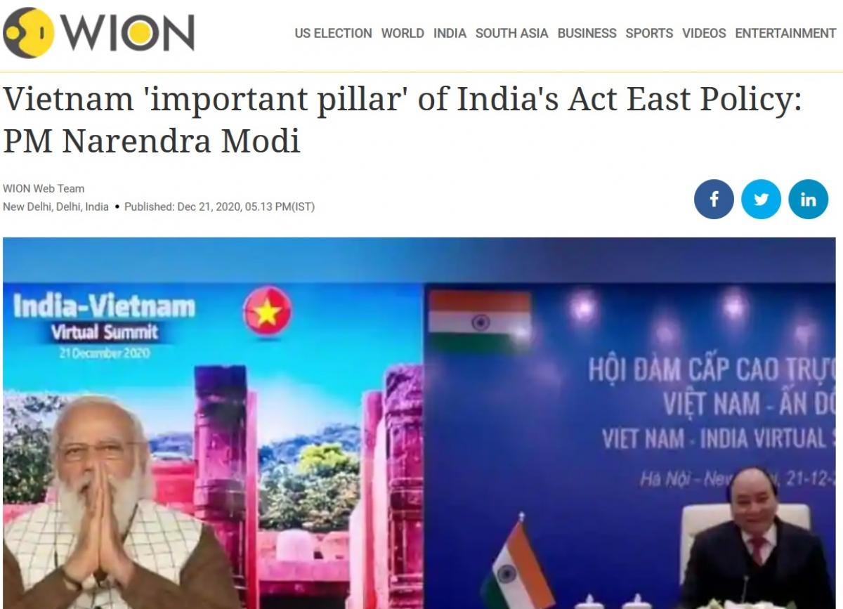 Báo chí Ấn Độ nhấn mạnhViệt Nam là trụ cột trong Chính sách Hành động hướng Đông của Ấn Độ.