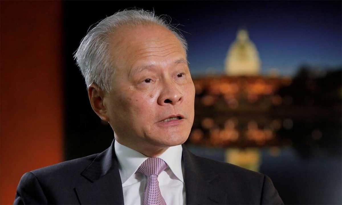 Đại sứ Trung Quốc tại Mỹ Thôi Thiên Khải trong buổi trả lời phỏng vấn hãng Reuters, ngày 6/11. Ảnh:Reuters.