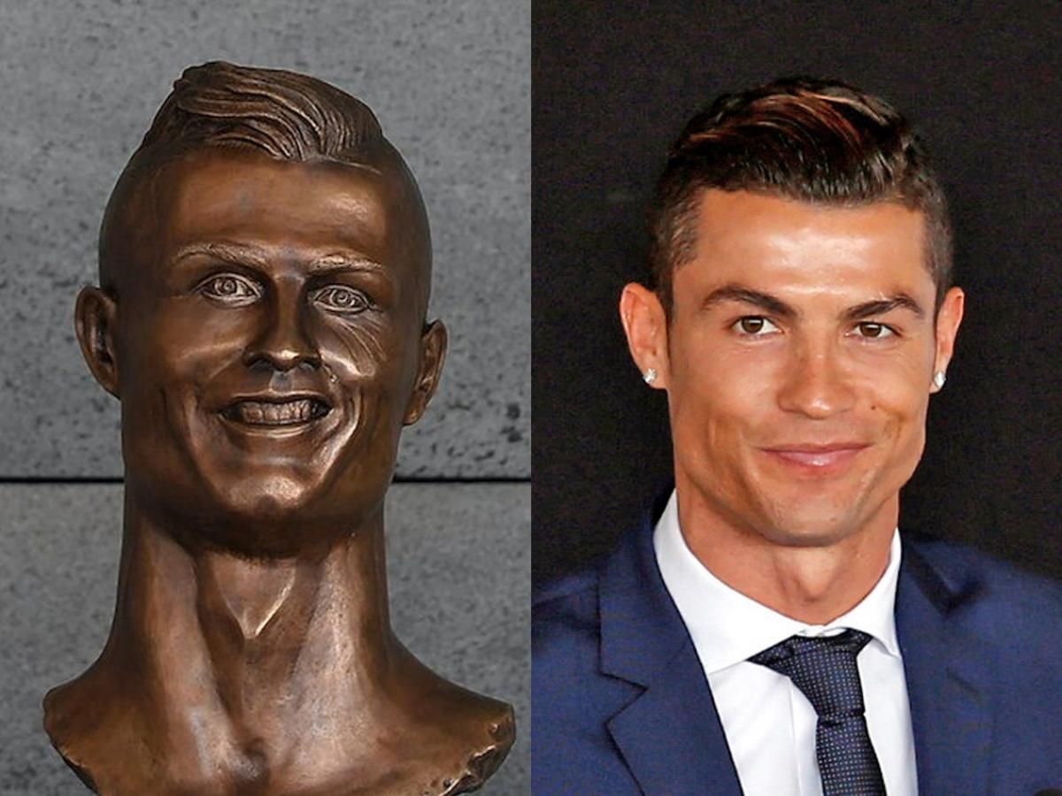 """Cư dân mạng không quên nhắc lại bức tượng Cristiano Ronaldo """"nổi tiếng"""" ở sân bay Madeira trong cuộc bàn luận."""