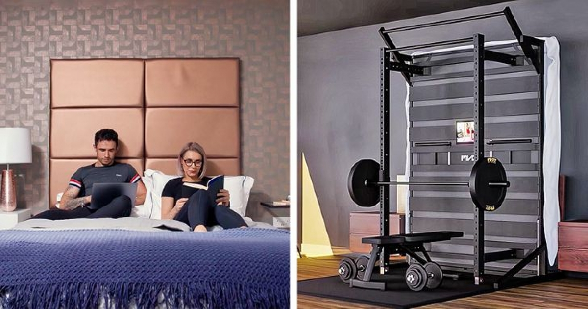Nếu ngôi nhà bạn nhỏ, chật và bạn thì yêu thể dục thể thao, hãy thiết kế chiếc giường của bạn tích hợp một số thiết bị dùng để tập gym.