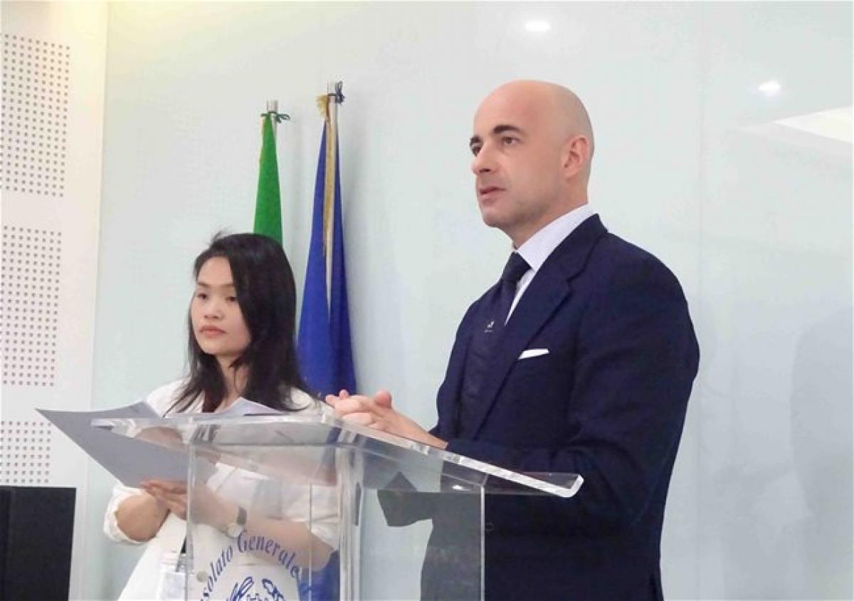 Consul General of Italy in HCMC Dante Brandi speaks at the press conference.