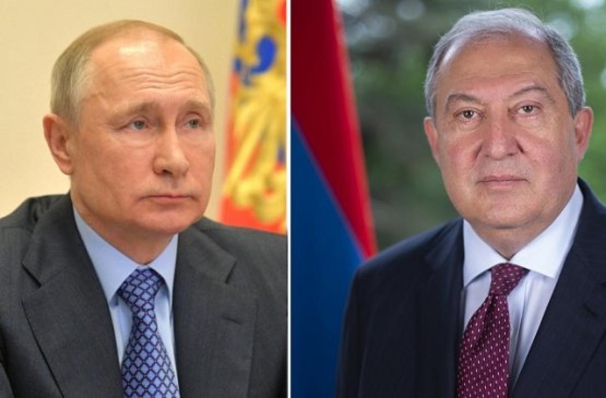 Tổng thống Nga V.Putin và Tổng thống Armenia Armen Sarkissian. Ảnh: president.am