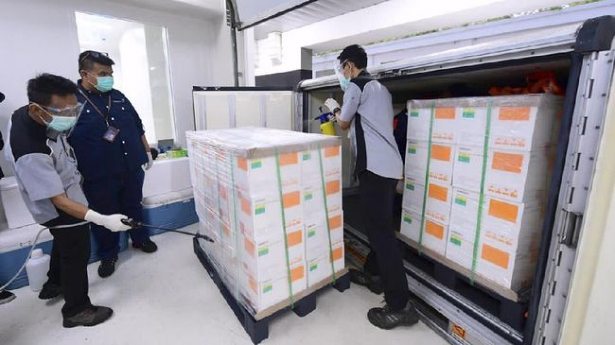 1,2 triệu liều vaccine Sinovac đã đến Jakarta, Indonesia. Ảnh: Ban thư ký Tổng thống